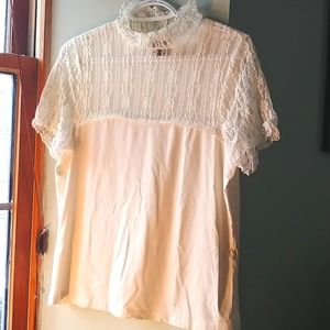 Tribal creamy white lace accent shirt